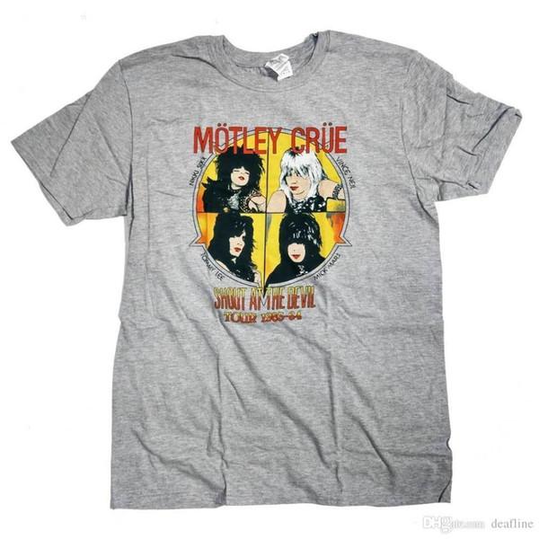 1b2d59e36 Acheter T Shirt Motley Crue Pour Hommes De La Mode Gris Clair Cri Lors De  La Tournée Du Diable 83 84 100% Tee Shirt Homme Streetwear Officiel De ...
