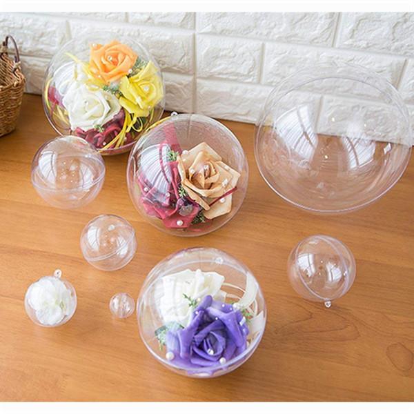 Clear pla tic ball bath bomb mold et craft pla tic ornament chri tma hollow ball fillable diy bath bomb ornament wedding decoration