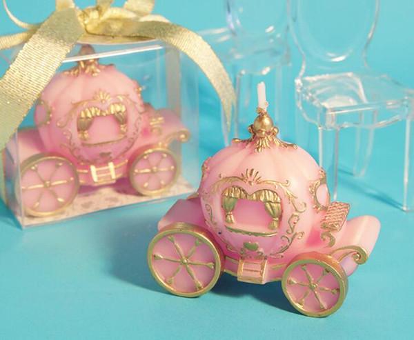 Citrouille Chariot Forme Bougies De Mariage Rose Et Blanc Pour Enfants Cadeaux Anniversaire Décoration Party Favor Souvenir