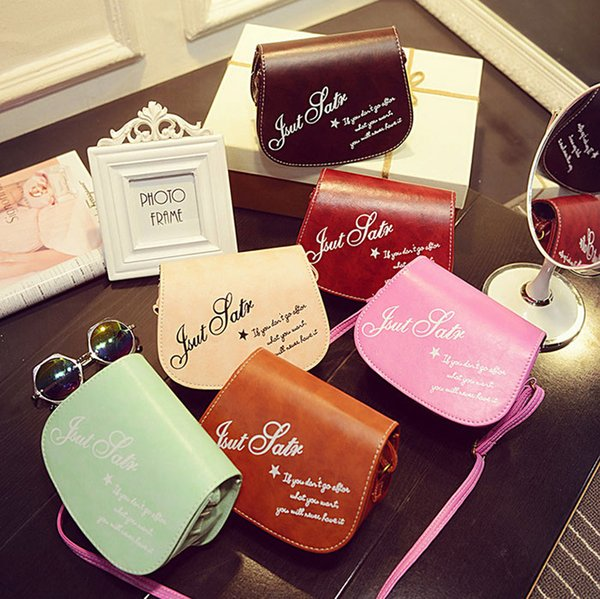 New Korean version retro small bag oil leather women's diagonal cell phone letters shoulder bags small party bags