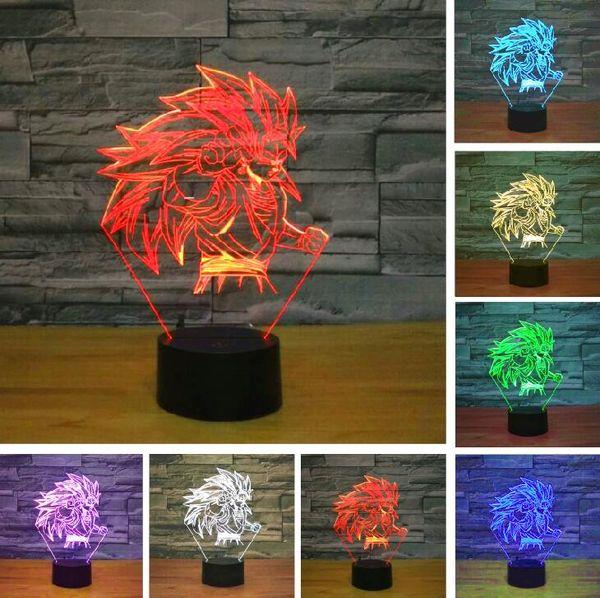 Nouveau Dessin Animé Dragon Ball Figure Super Saiyan Singe Dieu Fils Roi Goku 3D Lampe De Table Luminaria Led Veilleuses éclairage Mood illusion Lampe