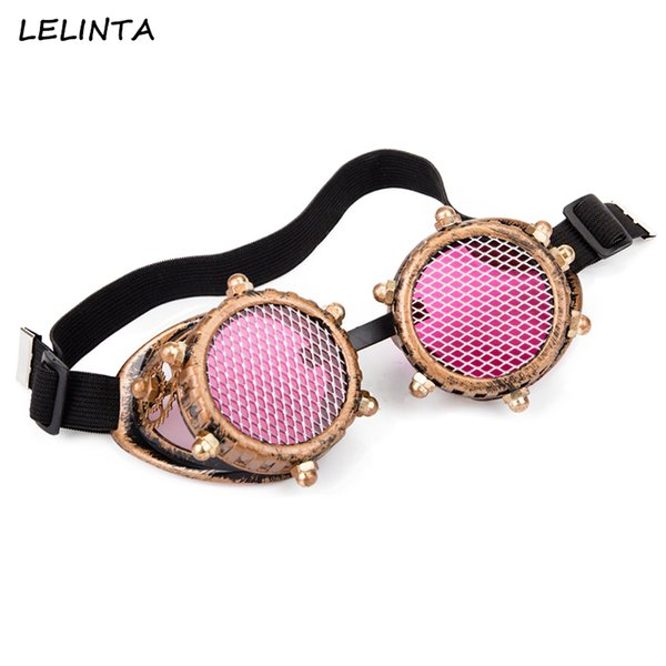 LELINTA Men Women Red Clear Glass Lenses With Mesh Vintage Goggles Steampunk Glasses Cosplay Vintage Welding Punk Gothic Eyewear