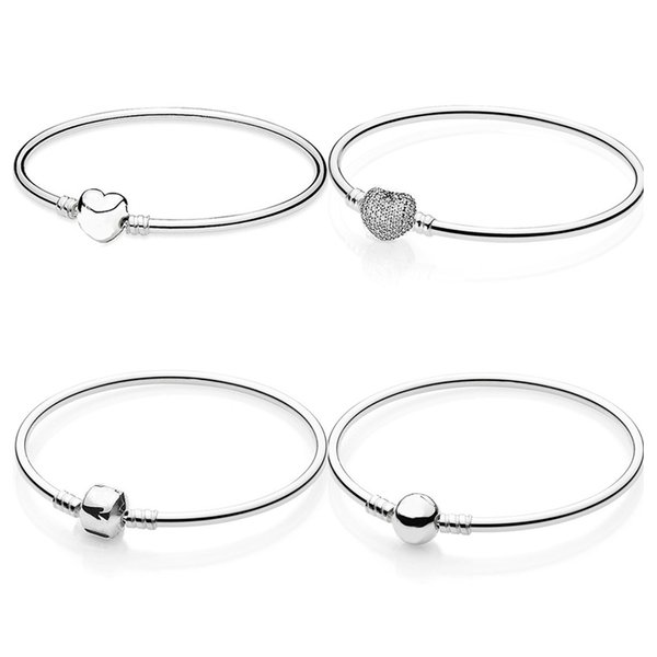 Pave Love Heart Barrel & Ball Clasp Smooth Bangle Fit Snake Chain Bracelet 925 Sterling Silver Bead Charm Jewelry