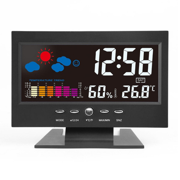 Electronic Digital LCD Desk Clock Temperature Humidity Monitor Clock Hygrometer Weather Forecast Table