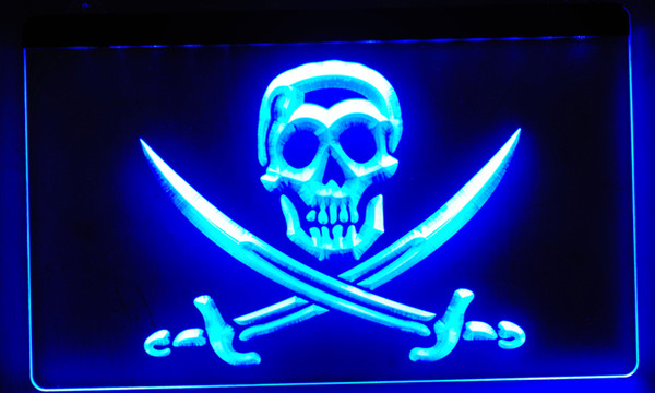 LS016-b Pirates Skull Bar Pub Beer NEW Neon Light Sign Decor Free Shipping Dropshipping Wholesale 8 colors to choose