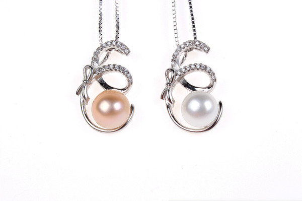 Creative fashion pendant genuine S925 sterling silver inlaid zircon natural freshwater pearl pendant necklace