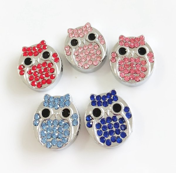 10pcs 8MM Mixed color Full Rhinestone Owl Slide Charms Beads DIY Accessories Fit 8mm Collar Belts Bracelets