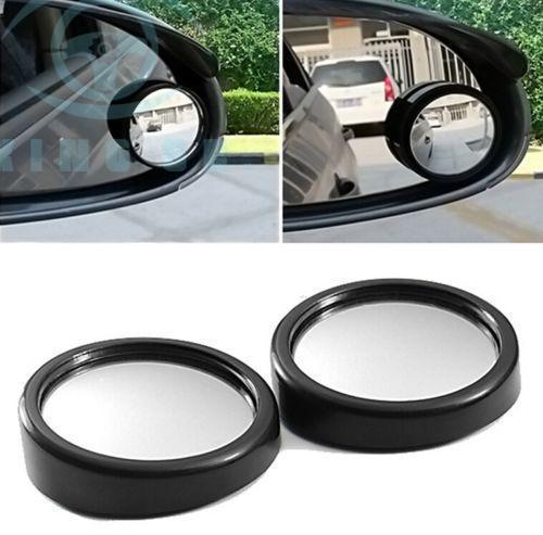 2x CAR Auto Negro Punto Ciego Mini Espejo Retrovisor Redondo Pequeño Ángulo 360 ° Adhesivo Lateral Adhesivo Diy