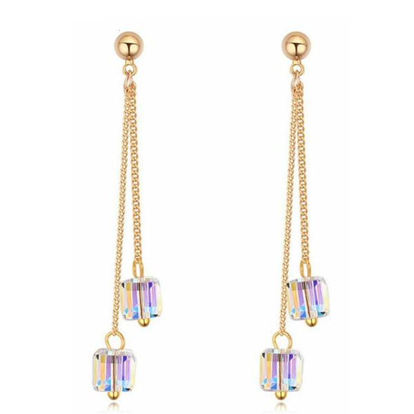 Square Crystal from Swarovski Elements Long Tassel Earring Drop Dangle Wedding Fashion Jewelry Women Party Gift 23074