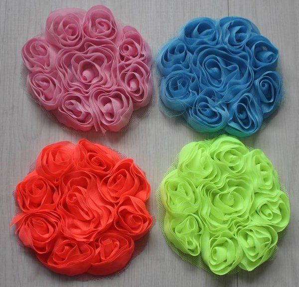 """50pcs 3"""" decorative chiffon fabric rose flowers for hair,girls hair flowers,chiffon rosettes flower for babies hair clip accessories"""