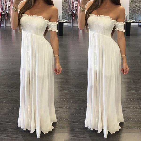 Boho Womens Tops Maxi Dress Off Shoulder White Solid Sleeveless Summer Evening Long Dresses Beach Sundress
