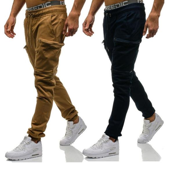 Mens Carga Calças Cor Sólida Aumento Bolso Decoração Homens Calças Casuais Hip Hop Basculador Blended Algodão Moda Masculina Calça Casual