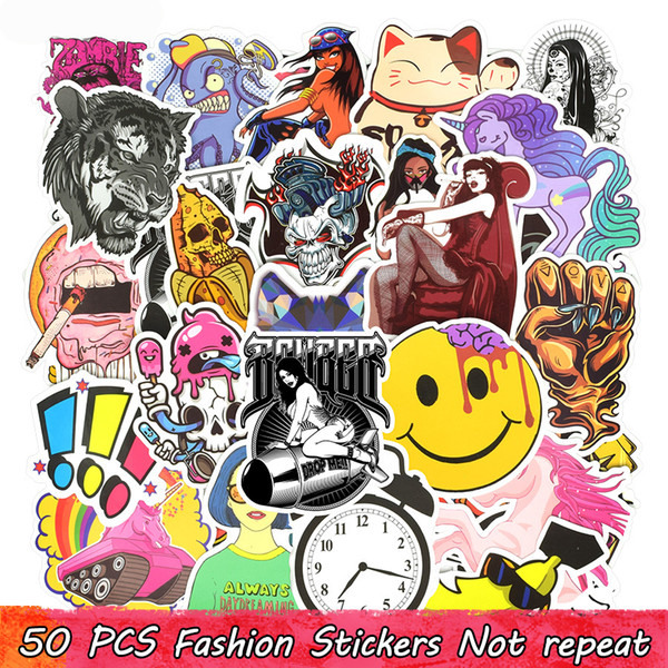 50 PCS Motorcycle Stickers Graffiti Funny Cool Anime Decals Sticker for Home Decoration Snowboard Laptop Guitar Bicycle Helmet Wall Stickers