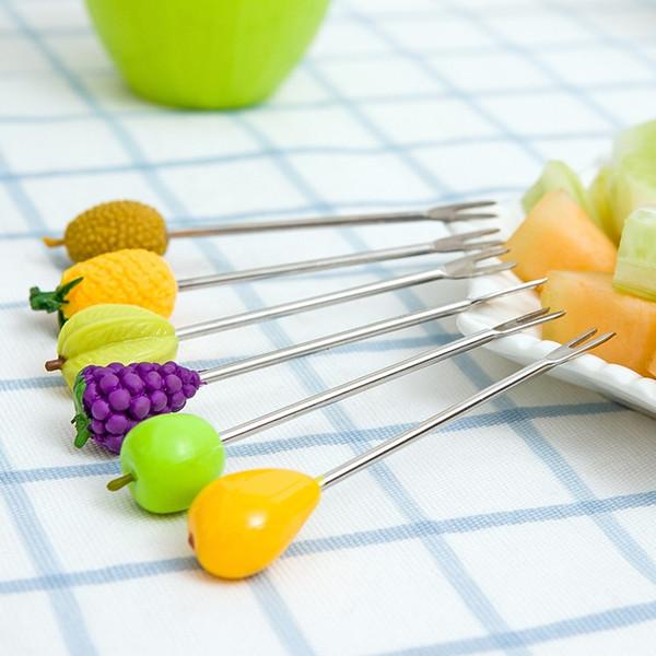 Scatola di immagazzinaggio di Lovely Barrel all'ingrosso-Creativo Una serie di forcella di frutta in acciaio inox A Barrel montato 6 Articoli pratici di uso quotidiano M0041