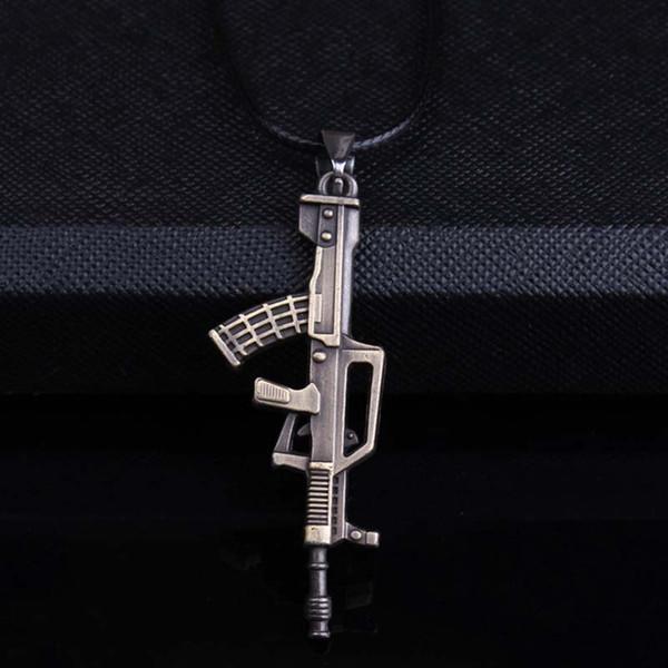 PUN titanium steel chain necklace men mens chains male chocker choker neckless punk personalized pistol pendant necklace