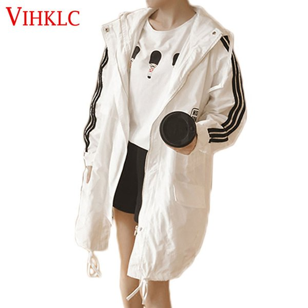 VIHKLC Spring summer women coat 2017 new coat Trench fashion Loose casual Hooded thin Sunscreen Trench Plus size AY118