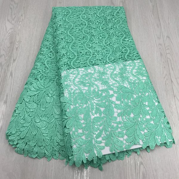 5 yard free shipping Mint green Color polyester lace fabric,high quality African lace fabric,pretty Swiss lace for women dress