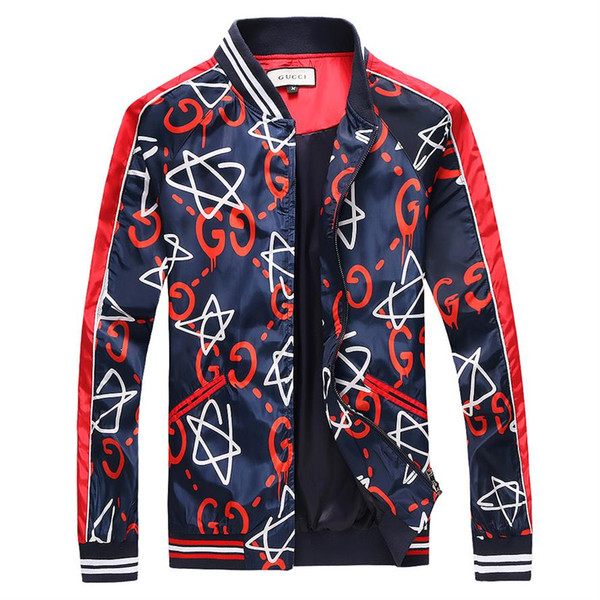 2018 Hot High Quality Brand Snake Print Stand Collar Jacket Luxury Famous Brands Men's Fashion Spring And Autumn 3D Jacket Size XX35