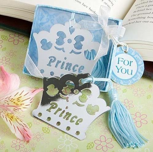 20PCS silberne Prinzen-Prinzessin-Kronen-Bookmarkgeburtstags-Taufe Brautbabyparty-Bevorzugungsweihnachtsgeschenk-Babypartyandenken freies Verschiffen