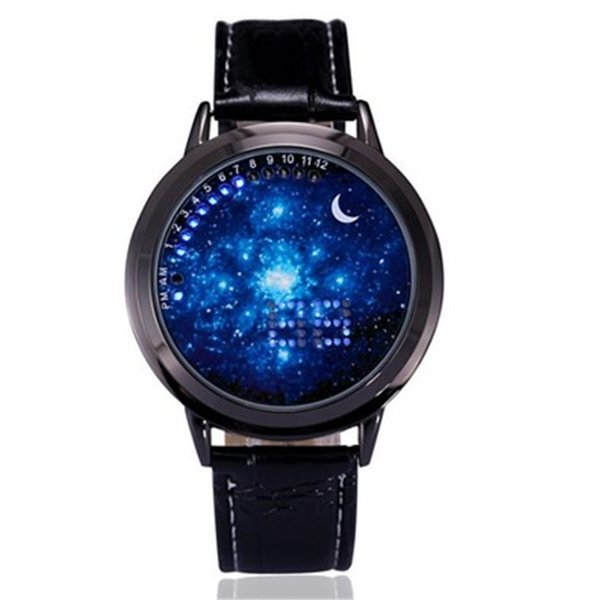 New Design Creative Sky Star Fashion Watches Moon Pointer Unisex clock brilliant led Touch Screen wristwatches with Blue Light