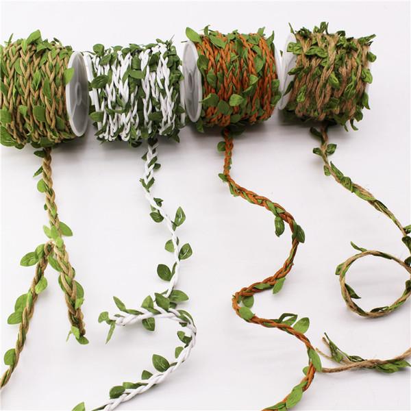 top popular 10 Meters Roll DIY Artificial Leaves Twine Wax String With Leaf Silk Leaves Flowers Garlands Hemp Rope Wedding Party Decoration 2021