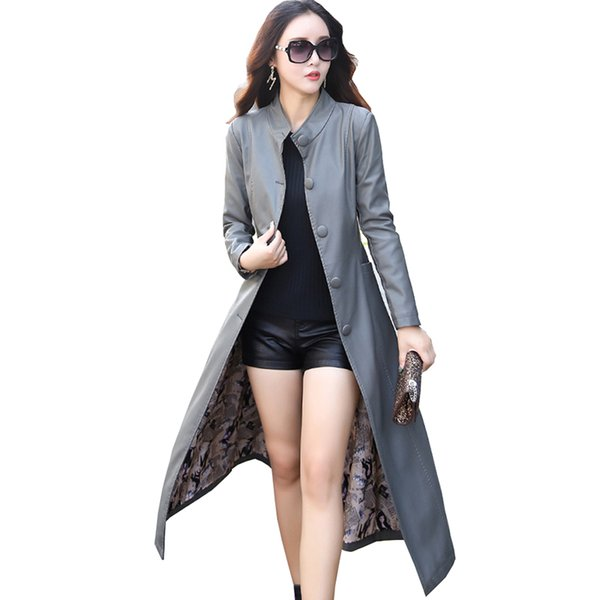 2017 Autumn Winter Overcoats Long Leather Jacket Women Trench Coats With Bow Tie Waist Faux Leather Single Breasted Windbreaker