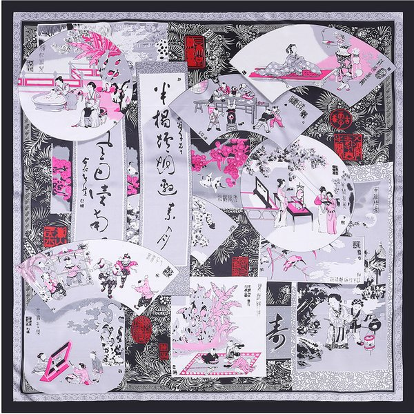 Ethnische Chinesische Seide Platz Frauen Drucken Schal Luxus Designer Marke Schal Foulard Femme Bandana Joker Rot Großen Schal
