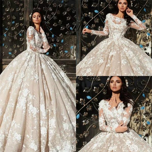 Vestido de bola de encaje árabe 2018 vestidos de novia de manga larga más tamaño vestidos de novia apliques Bateau cuello vestido de novia