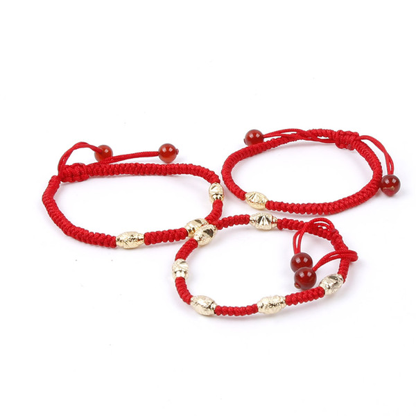 New Fashion Hand Braided National Style Red Lucky String Rope Friendship Adjustable Bracelet