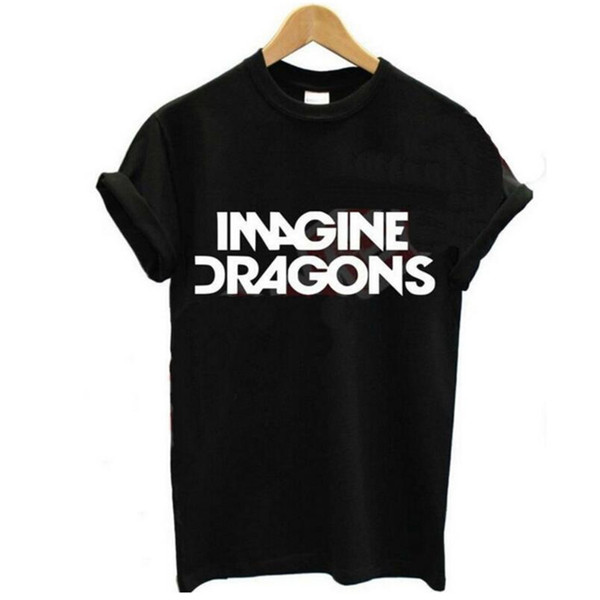 Sommer Mode Frauen T-Shirts Rock Band IMAGINE DRACHEN Schwarz Weiß T-Shirt Femme Oansatz Kurzarm Baumwolle Lustige T-Shirt