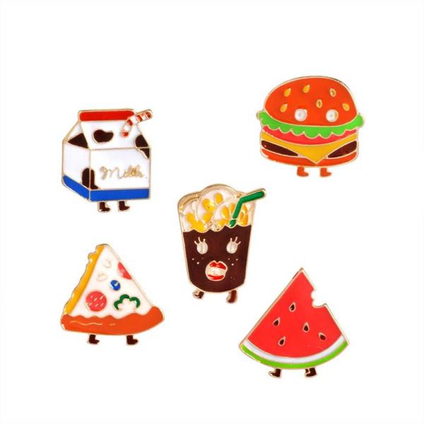 Bebidas Pizza Hamburger Broche de leche Pins Esmalte Camisa de traje de solapa para mujeres Niños Regalo del partido Envío de la gota
