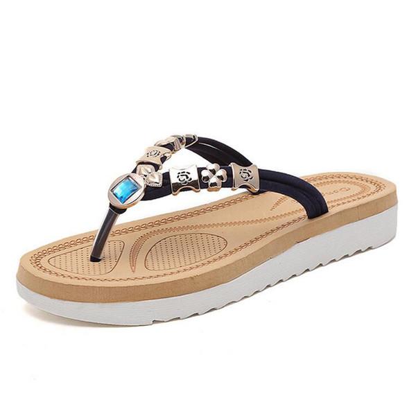 Brand Thick Bottom Platform Flip Flops Rhinestone Wedge Heel Shoes Patchwork Woman Summer Sandals Z555