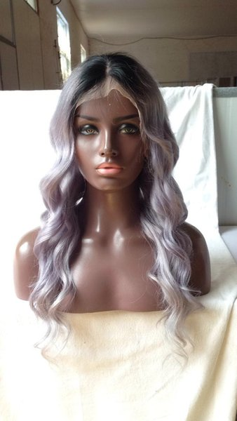 Ombre T1B Grey wavy Peruvian Virgin Hair Unprocessed 150% Density Full Lace Human Hair wigs For Black Women Bleached Knots Lace Front Wigs