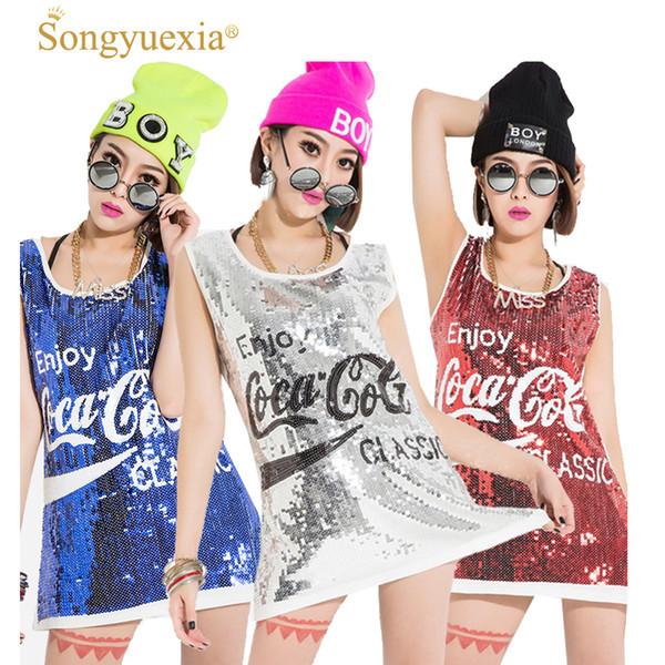 SONGYUEXIA Femme Ds costume paillette gilet costumes danse vêtements jazz vêtements chanteur féminin performance Costumes de fête