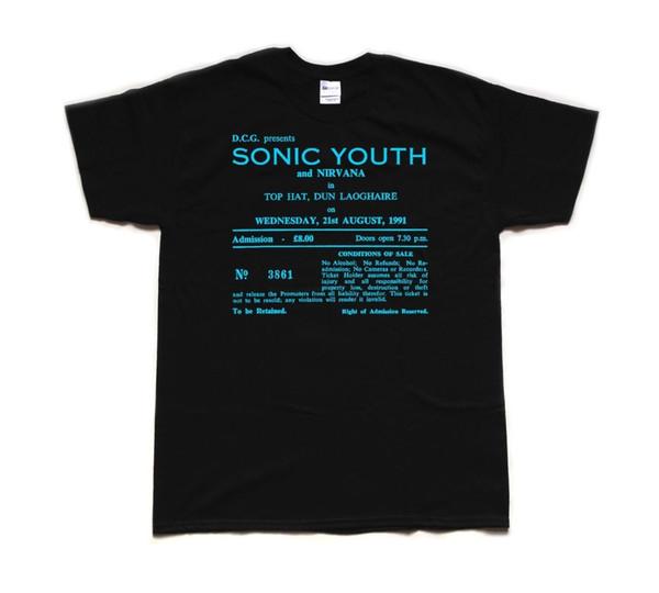 CAPPELLO TOP DI SONIC YOUTH 1991, DUN LAOGHAIRE tribute T SHIRT T-shirt unisex divertente da spedizione gratuita
