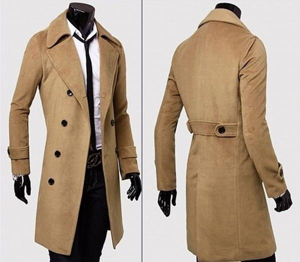 best selling HEFLASHOR 2018 Fashion Winter Autumn Men Blends Coat Long Slim Fit Overcoat Jacket Wind Coats Warm Thick Classic Outerwear