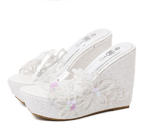 Pink White Sequined Appliques PVC Transparent Shoes Silver Wedding Shoes Women High Heel Platform Wedge Slipper Sandals Size 34 To 40