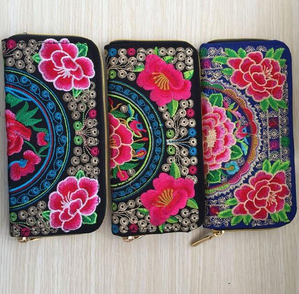 Flowers Embroidered Long wallet Case Zip Clutch Change Coin Purse Phone bag