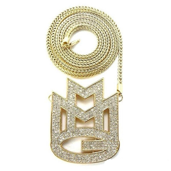 """CARA new ICED out MAYBACH MUSIC GROUP MMG Pendant & 36""""Franco chain maxi necklace hip hop necklace EMEN'S chokers necklace jewelry KKA1"""