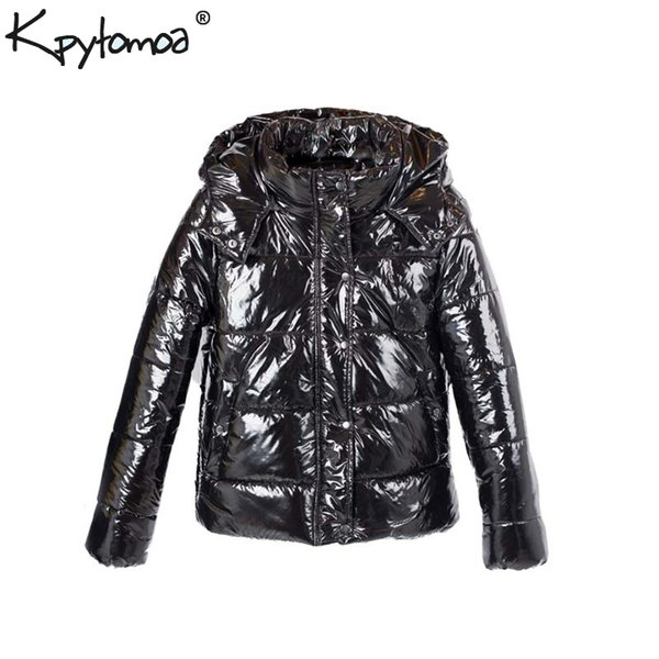 Vintage caldo inverno spessa con cappuccio Parka donne imbottite cappotto 2018 Moda maniche lunghe Tasche tuta sportiva Capaco Casme Femme