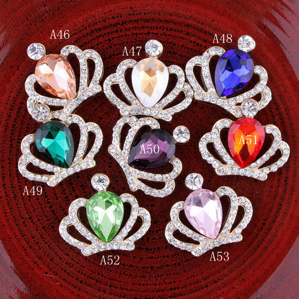 Flat back shining rhinestones bottons designer kids colorful gem crown princess accessories child DIY alloy phone decoration material YA0398