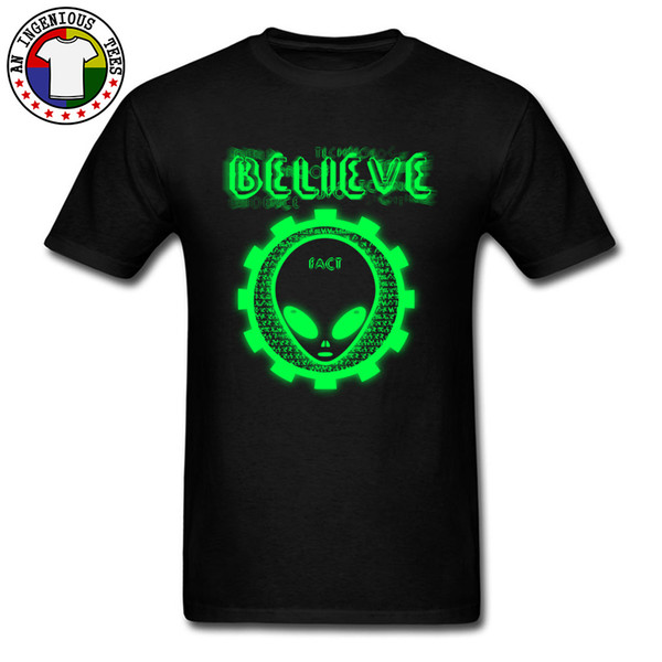 Cool Black Tshirt Believe Alien Men Fashionable Tops Tees Crew Neck 100% Cotton Top Family Great T-shirts Well Gift