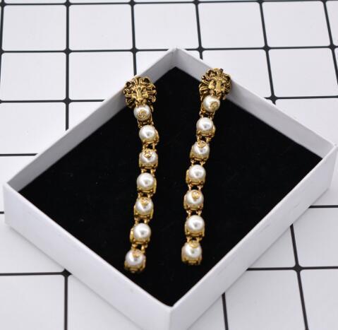 Eur Retro Lion Head Earrings Long Pearl Tassel Drop Dangle Eardrop Ear Studs Women Girl Party Prom Jewelry Accessories