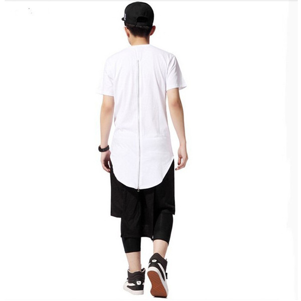 Wholesale- Moomphya Streetwear Men extented back tails swag funny t shirts with back zip Hip hop longline hipster long t shirts for men