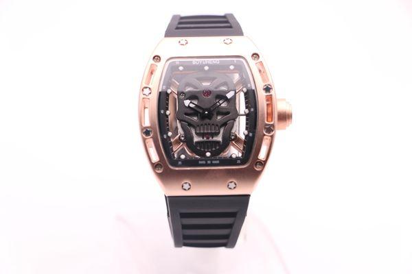 BOYUHENG 052 man cool watch black skull dial man's brown rubber brown Circle gold steel case quartz watch