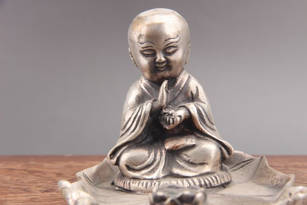 Exquisite China hand carved monk Cupronickel statue