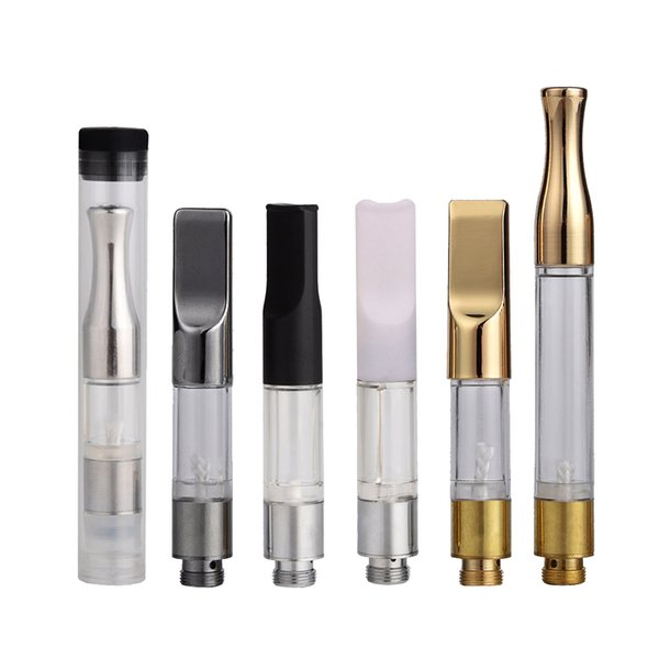 Clear Extract oil cartridge G2 Shatter oil vaporizer pen bud o pen 510 disposable Gold atomizer with Round/Flat metal tips .5ml 1ml