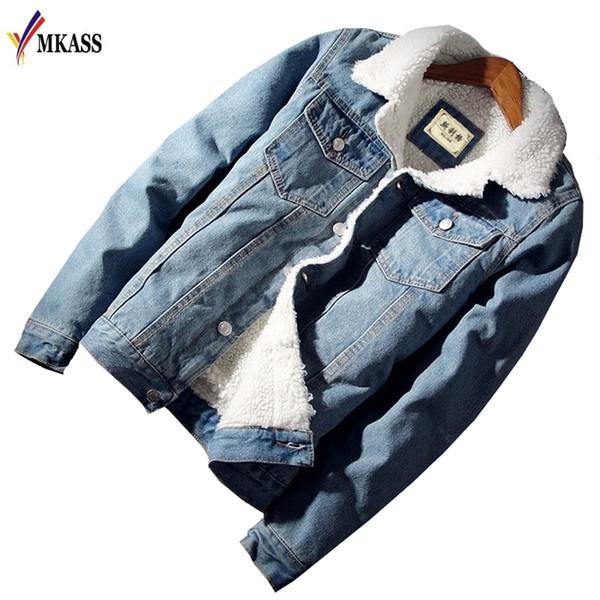 MKASS  Men Jacket Coat Trendy Warm Fleece Denim Jacket 2018 Winter Fashion Mens Jean Outwear Male Jean Plus Size 2XL