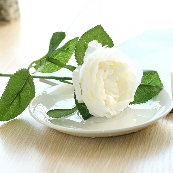 LINMAN Açık Buds Tek Şube Yapay Gül Ipek çiçek Canlı Şakayık Buket Düğün Ev Partisi Dekorasyon 6 renkler