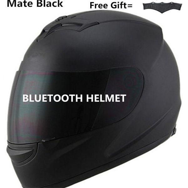 lente de Bluetooth de la motocicleta del casco de la bici oscuro Incorporados de intercomunicación teléfono con música llamada compañero negro S M L XL XXL